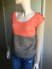 Splendid S orange and tan scoop neck sweater mohair wool blend VGC womens