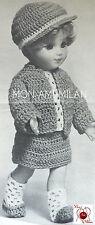 Vintage Crochet Pattern * Poupées Vêtements Outfit chemisier jupe veste cap Bottes DK