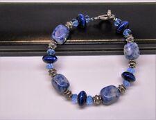 Real blue sodalite natural gem stone ladies bracelet in black gift box