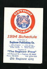 Detroit Tigers--1994 Pocket Schedule--Saginaw Press