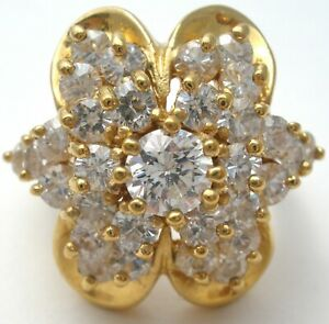 Gold Over Sterling Silver CZ Cocktail Ring Size 6.5 Clear Cubic Zirconia Vermeil