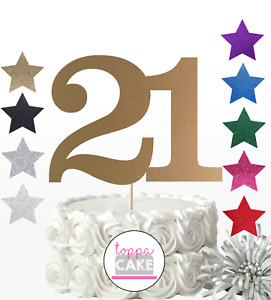 21 cake topper number any age birthday glitter card 16 18 30 40 50 60 70 80