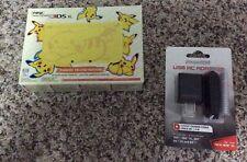 New 3DS XL Pikachu Yellow Edition US Version Pokemon Console W/ AC Adapter