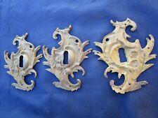 3 grandes entrées serrure laiton style Louis XV meuble commode 14 x 11 cm