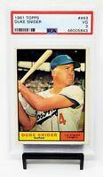 1961 Topps HOF LA Dodgers DUKE SNIDER Vintage Baseball Card PSA 3 VERY GOOD