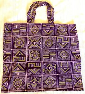 New Handmade Reusable Fabric Cloth SMALL TOTE BAG: Gift Book Lunch PURPLE & GOLD