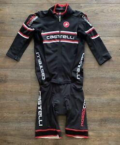 Castelli Rosso Corsa Men's Speed Skin Suit Jersey Shorts Set Size Large - Black