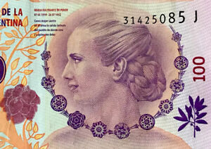 ARGENTINA $100 PESOS EVA PERON (EVITA) CURRENCY BANKNOTE Circulated