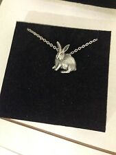 """Rabbit R94 English Pewter on a Silver Platinum Plated Necklace 18"""""""