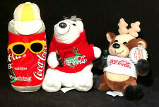 Coca Cola Reindeer in Shirt Bean Bag, Polar Bear Sweater Coke Can Lot 4 vintage