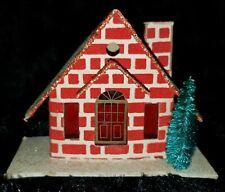 Vintage Lot Of (5) Cardboard Japan Small Putz Houses Christmas Decoration