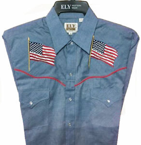 Clearance Shirt Ely Patriotic Flag Shirt Chambray Blue Short Sleeve