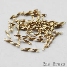 60 Pieces Raw Brass Textured Waved Connector - Link - Bar 12x1mm (3737C-V-254)