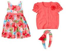NWT GYMBOREE BURST OF SPRING OUTFIT size 5 , dress, sweater /cardigan, head band