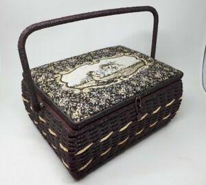 Vintage Wicker Sewing Box 34 x 26 x 17 cms
