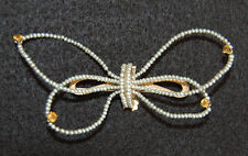 Signed Antique SEED PEARL BUTTERFLY BROOCH - 14K Gold, Citrines           (4O19)