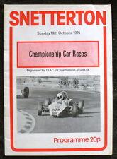 CAMPIONATO Snetterton AUTO LE CORSE programma 19 OTT 1975