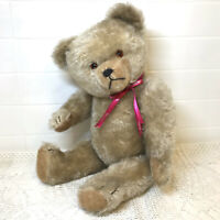 Hermann Teddy Bear Mohair Plush c1950s Big 60cm 2ft Jointed Glass Eyes no ID Vtg