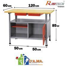 Banco da lavoro in metallo con piano in legno 2 cassetti cm 120x60x85 H RIBITECH