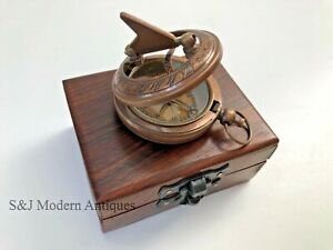 """Sundial Compass Vintage Brass Bronze Nautical 2"""" Inch Wooden Box Steampunk Retro"""