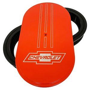 """Big Block Chevy Chevrolet Bowtie 15"""" Oval Air Cleaner Kit Orange - Ansen USA"""