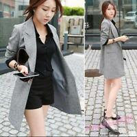 Korean Womens Slim Fit One Button Blazers Trench Coat OL Mid Long Jacket Suit