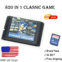 US STOCK!! 820 in 1 Game Cartridge Classic 16 bit Sega Megadrive Genesis Console