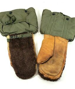 Vintage USA Military Mittens Gloves Set Extreme Cold Weather Leather Wool XL