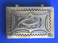Vintage Navajo Sterling Silver Traditional Hand Stamped Pill Snuff Trinket Box