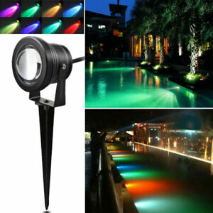 1/2/4pcs 10W RGB LED Lawn Light Garden Floodlight with Spike +Remote Waterproof