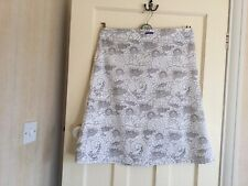 Mambo Cotton A Line Skirt White With Taupe Pattern Size 14