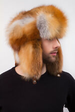 Red Fox Full Ushanka Hat Trapper Aviator Saga Furs Hat For Men's