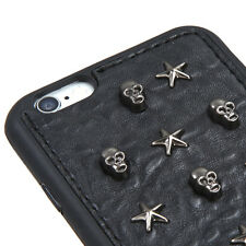 """NEW FOR iPhone 6s / 6 4.7"""" Black CANDY GRAY SKULL Studs SKIN RUBBER COVER CASE"""