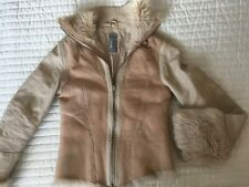 FIRETRAP GENUINE SHEEPSKIN SHEARLING SUEDE AND LEATHER JACKET CREAM BEIGE XS