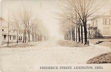 Ohio real photo postcard Lexington Frederick Street residential street scene