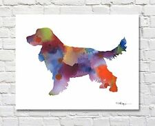 English Cocker Spaniel Contemporary Watercolor 11 x 14 Art Print by Artist Djr
