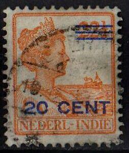 DUTCH EAST INDIES 1921 Queen Wilhelmina Sc#146 Mi:NL-IN 134 overprint 20c STAMP