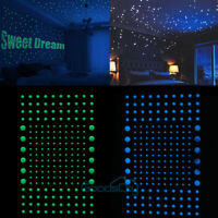 606 Dots 3D Glow In The Dark Luminous Fluorescent Wall Stickers Room Decor US