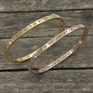Bracelet Bangle Roman Numeral 0 5/32in Silver Plated Or Gold (Crystals Bright)