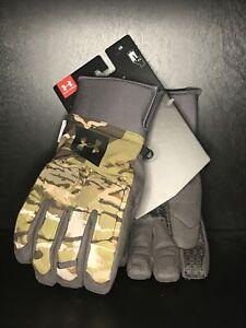 Under Armour UA Windstopper Camo Hunt Gloves Men's Size Large Primaloft New