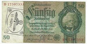 GERMANY - WEHRMACHT - 50 REICHSMARK - 1933 -  WITH NAZI STAMP WAFFEN SS