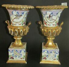 paire de vases médicis porcelaine de paris restauration doré or fin OISEAUX