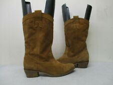 Diba Pretender Tan Suede Leather Cowboy Boots Womens Size 9