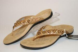 Vionic Floriana Womwns 9 40 Beaded Cork Print Flat Sandals Comfort Shoes TVW4401