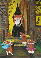 Print Of Painting Ryta Folk Halloween Pembroke Welsh Corgi Vintage Style Witch