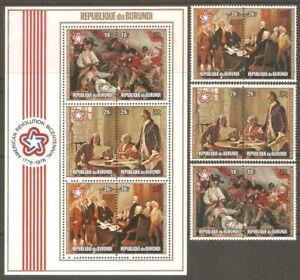 BURUNDI Sc# C244 - C246c MNH FVF Set-3xPr+Souv Sheet US BiCentennial Art