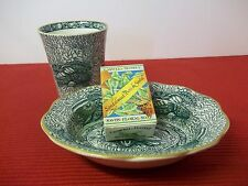 (2) Rare Soap Dish & Tumbler Torquay Mottahedeh Green Shell Discontinued England