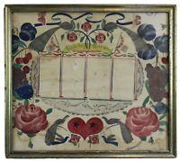 Antique 1860s Early Americana Folk Art Fraktur Pennsylvania Dutch Family Record