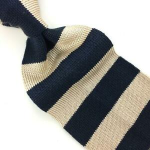 Banana Republic Italy Tie Stripes Black Beige Fine Knitted Silk Necktie I16-66
