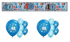 40th BIRTHDAY PARTY PACK DECORATIONS BANNER BALLOONS (SE.B.2)